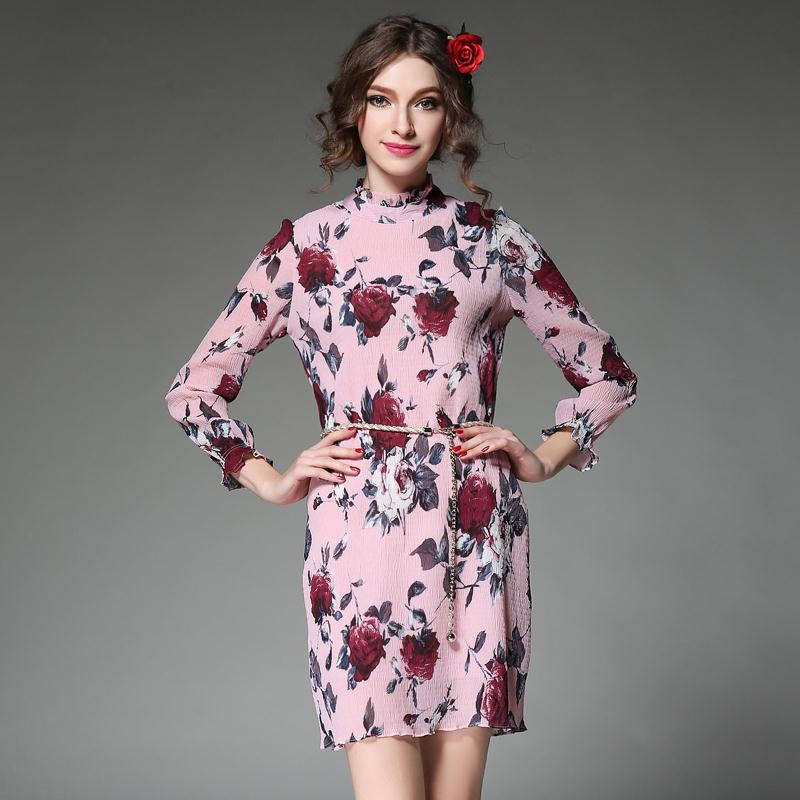 2016 New Spring Women Dresses Plus Size 5XL Vintage Rose Printing Loose Chiffon Dress Flare Sleeve Stand Mini Dress With Belt Одежда и ак�е��уары<br><br><br>Aliexpress