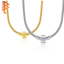 Buy 2 Style 44CM European Silver Bead Charm Fit Necklace Snake Chain Necklace Silver Plated Original Jewelry Necklace Women for $4.31 in AliExpress store