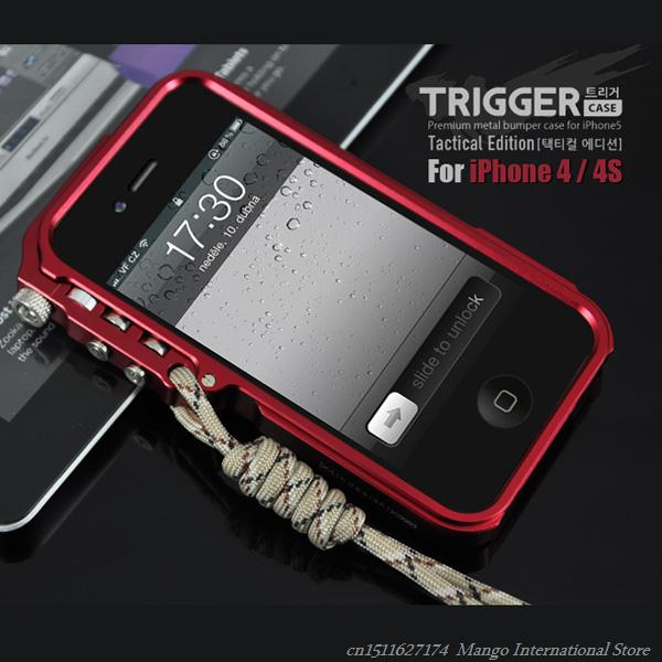 Trigger Classical All Aluminum Metal Bumper For iPhone 4 4s Cover Metal Aluminum Frame Luxury Cover For Fundas iPhone 4s Bumper(China (Mainland))