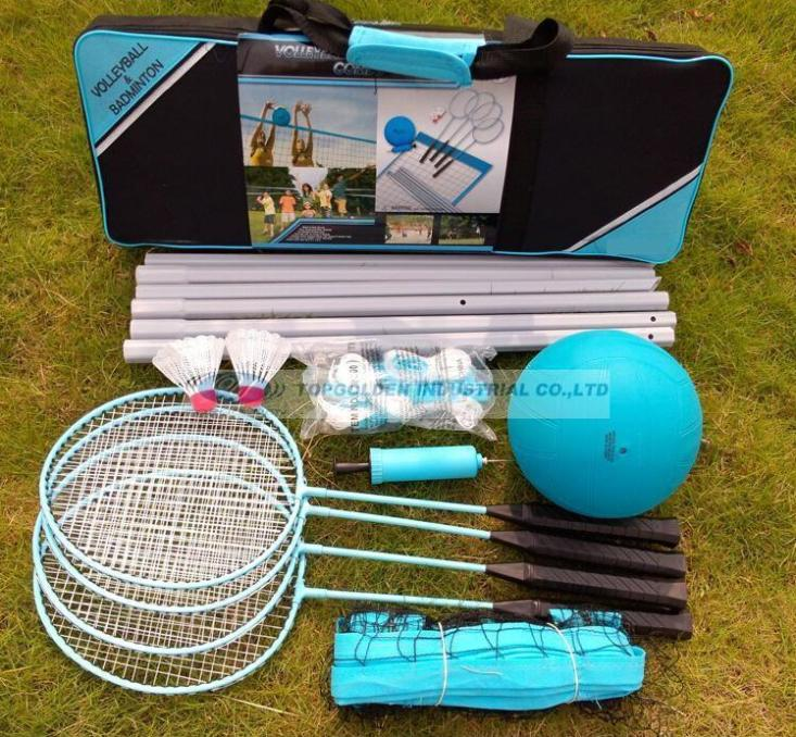 Multi-function badminton and volleyball game set outdoor recreational sports game set volleyball set badmiton set(China (Mainland))