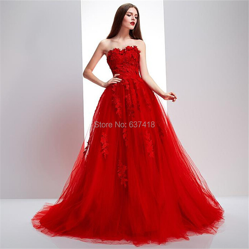 2016 Real Image Ball Gown Puffy Red Prom Dress Evening