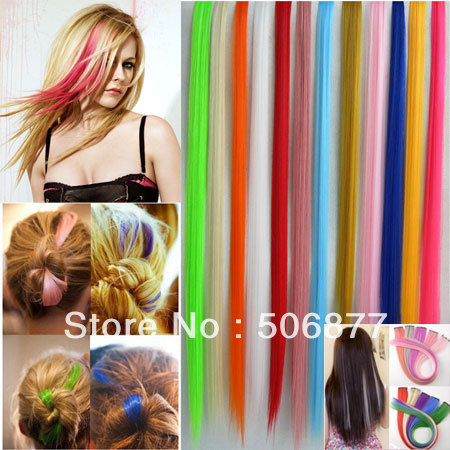 "10pcs/lot random color New 20"" Straight Colored Colorful Clip-in Clip On In Hair Extension/Hair piece Free Shipping(China (Mainland))"
