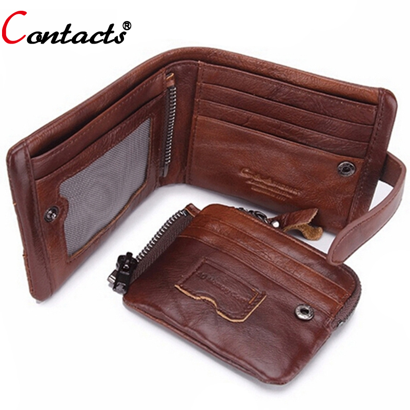CONTACT'S Short Men Wallet Genuine Leather Credit Card Holder Purse Crazy Horse Brand Male Clutch Pockets Designer Dollar Price