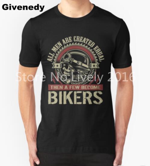 Все люди созданы равными, то несколько стали Байкер печати Летняя Футболка Мужская велосипед цикл С Коротким Рукавом хлопок Топы тройники