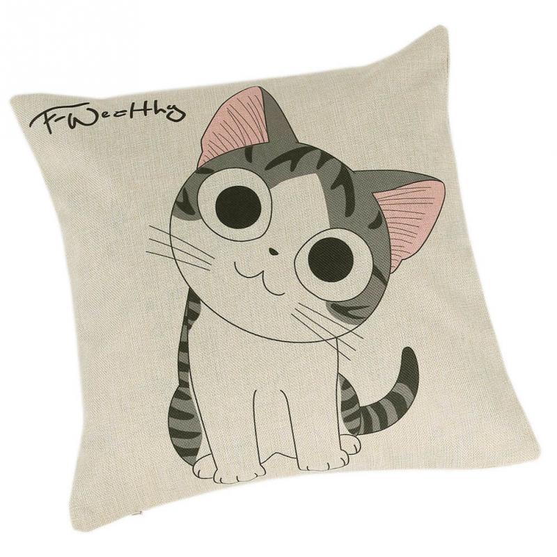 Hot Sale Home Decorative Flat Cotton Linen Pillow Case Lovely Cartoon Cat Cushion Cover