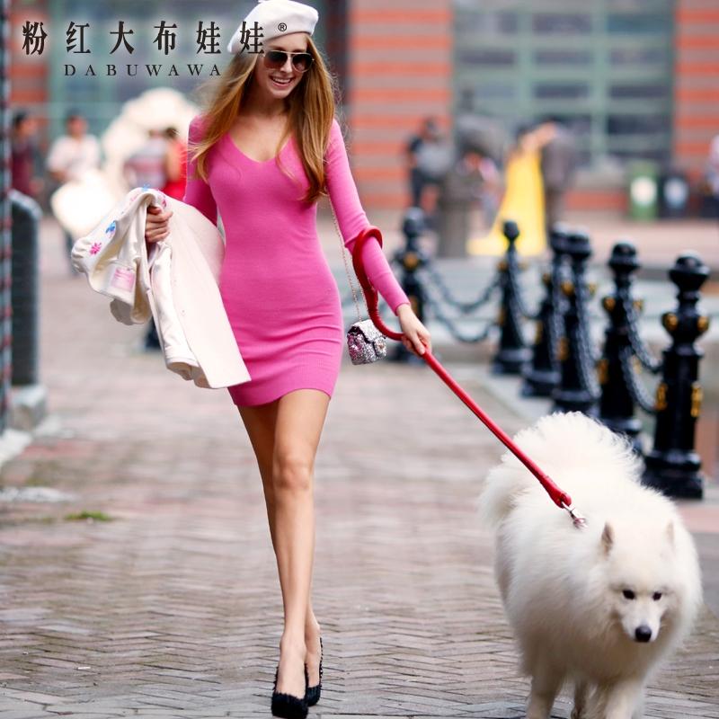Autumn dress pink doll Womens 2015 V collar sweater knit dress sexy hip packОдежда и ак�е��уары<br><br><br>Aliexpress