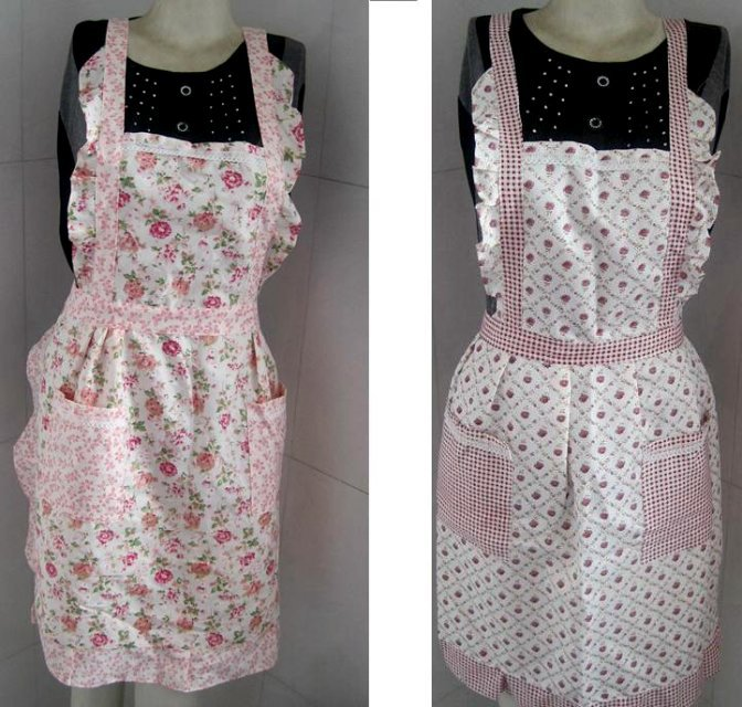 Wholesale Pretty pink floral printing Kitchen cooking baking Apron(China (Mainland))