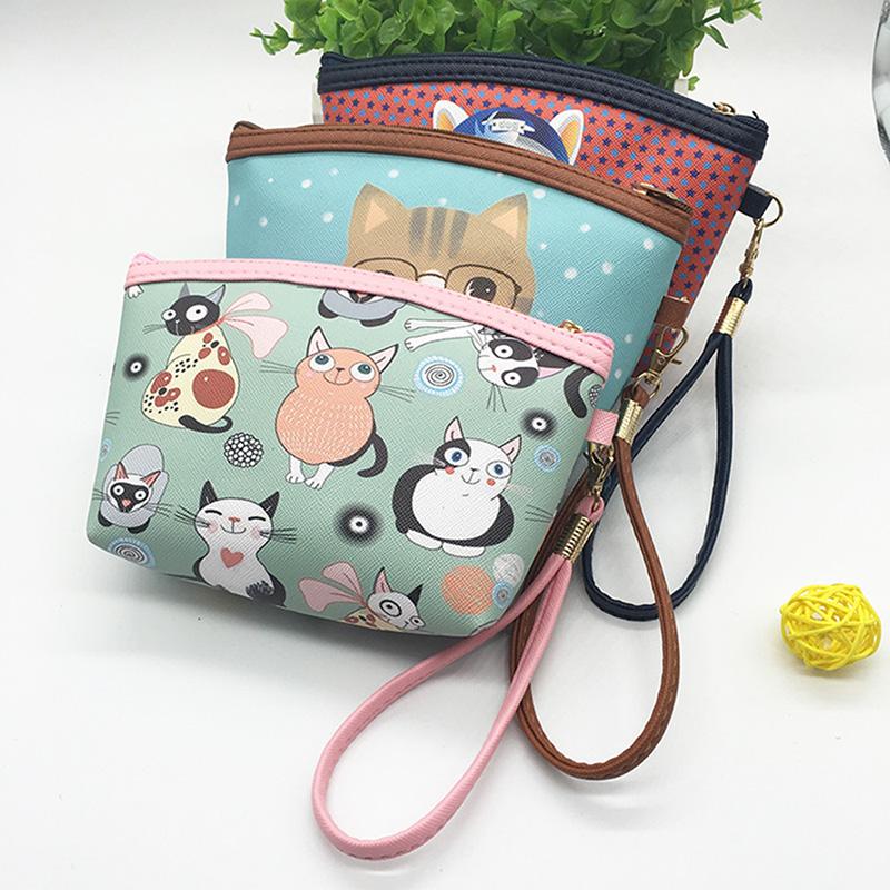 Women cartoon animal PU Leather Waterproof zipper Coin Purse Clutch lady Wallet phone Pocket Pouch Bag Keys cosmetic holder(China (Mainland))