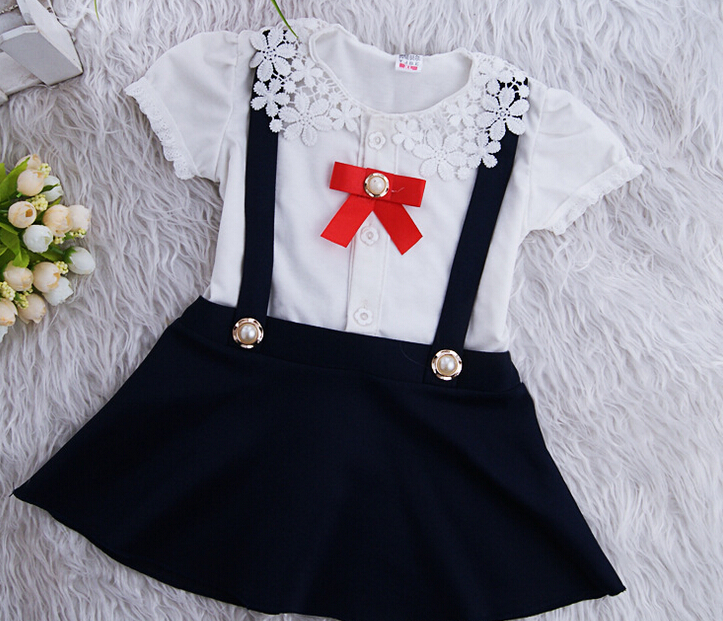 (1piece /lot) 100% cotton 2015 new style Lace long sleeve School style baby dress 030(China (Mainland))