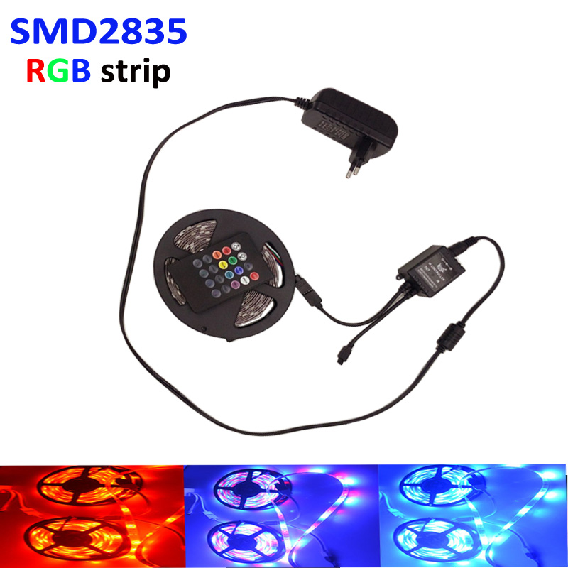 Waterproof RGB LED Strips set 5M/300Leds 3528 SMD flexible rgb light rgb tape+music IR Remote Controller +12V 2A Power Adapter(China (Mainland))