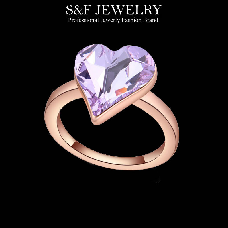 2015 Fashion brand engagement rings for women in jewelry crystal romantic heart women crystal engagement rings high quality 2015(China (Mainland))