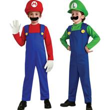 Hot Kids Super Mario Bros Costume children's Set for Halloween Party Christmas MARIO & LUIGI Costume For Kids Free shipping