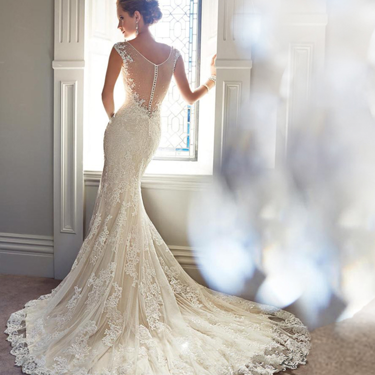 Real Photo Mermaid Lace Train Sexy Wedding Dresses Crystal Wedding Gowns Robe De Mariage Wedding