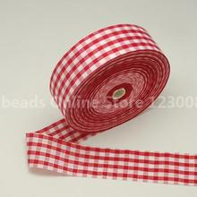 Gingham Ribbon Satin Ribbon font b Tartan b font Ribbon Nice for Party Decoration White 40mm