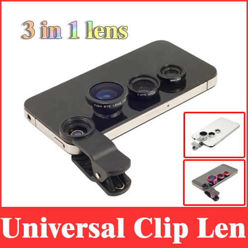 universal clip lens 3 in 1 fish eye wide angle + macro + fisheye len mobile phone for iphone for HTC and samsung etc WF02(China (Mainland))