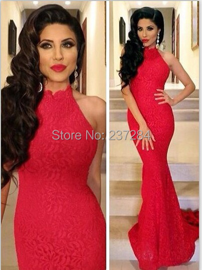Aliexpress.com : Buy Glamous Red Mermaid Lace Prom Dresses 2016 ...