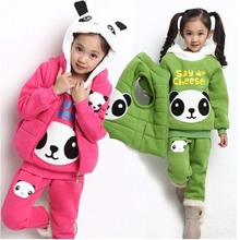 Winter style plus thick children clothes kids warm panda clothing set for baby girls Christmas gifts suit 3 pics/suit(China (Mainland))