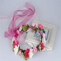 2016New Fashion Handmade rose Wedding Headband Kids Party Crown Garland Hair Accessories For Women Girls Flower