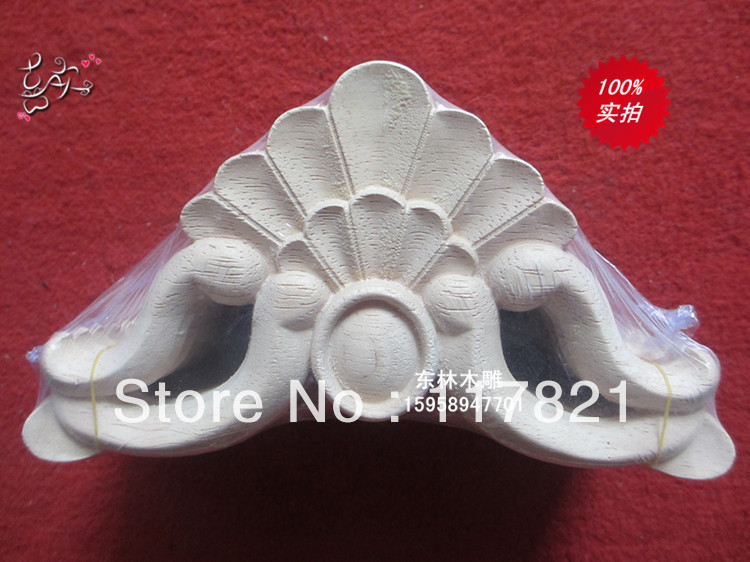 Dongyang wood carving corner flower furniture home accessories applique patch European shavings hp-185