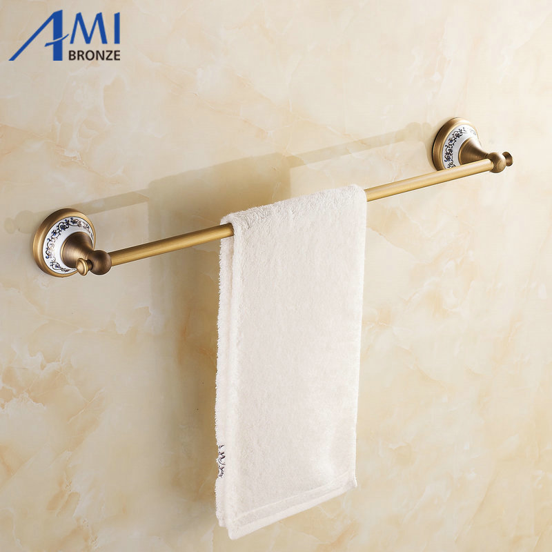 Ap1 Series Antique Brass Towel Bars Wall Mounted Bathroom Accessories Single Towel Bar Towel