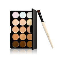 15 Colors Makeup Camouflage Facial Concealer Palette Cream Eyeshadow Brush