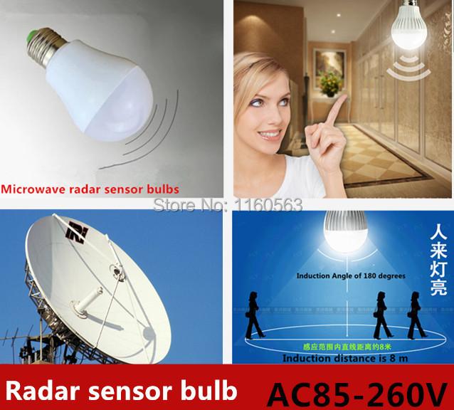 NEW Smart LED sensor light bulb E27 microwave radar motion& ambient light sensor lamp AC 85-265V 9W Freeshipping(China (Mainland))