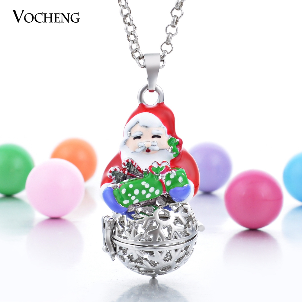 20pcs/lot Vocheng Angel Ball Snowflake Cage Prayer Box Christmas Pendant Necklace with Stainless Steel Chain VA-105*20(China (Mainland))