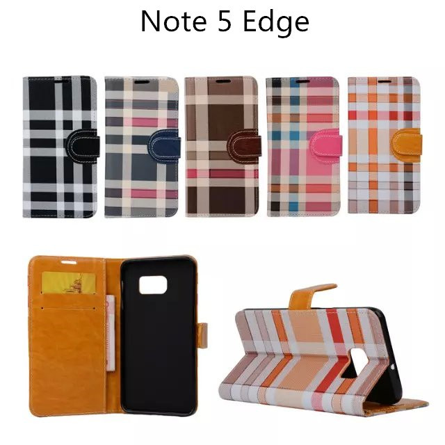 For Samsung galaxy Note 5 Edge wallet case, Generous Stripe Plaid Wallet leather case Stand Card slots Bill site(China (Mainland))
