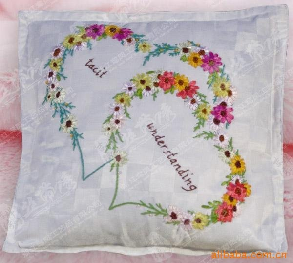 Supply of ribbon embroidery stitch pillow hand finished