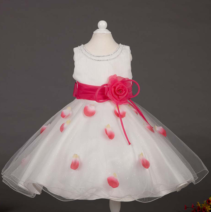 Girl petals princess dress kids party wear dress girl flower dress for New Year 4 colors size:3-12 12pcs/lot free DHL P-119<br><br>Aliexpress