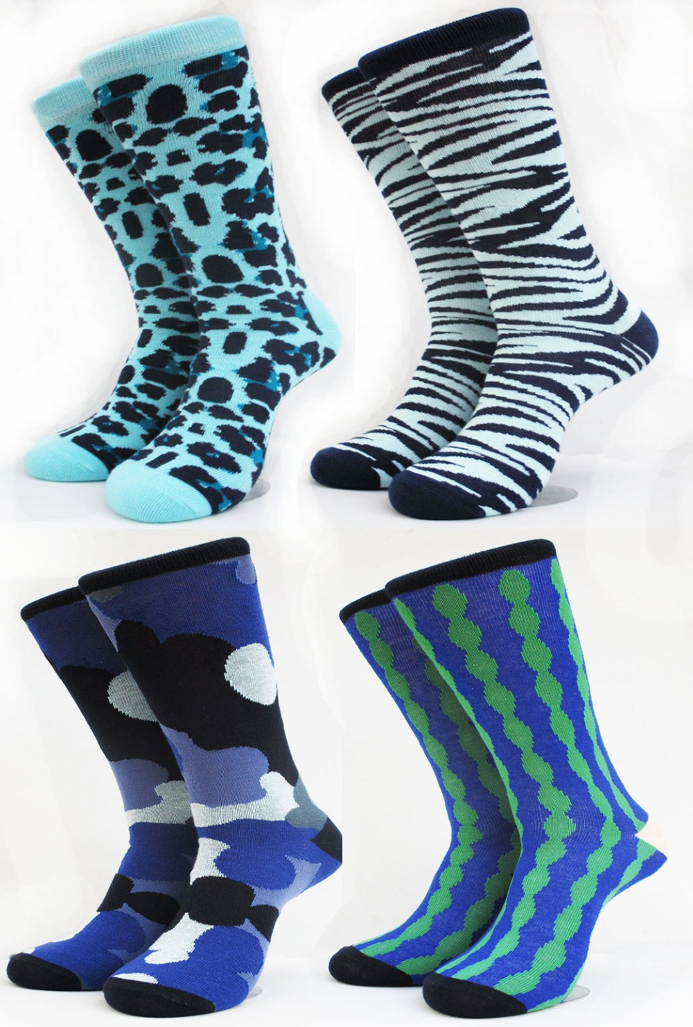 Fashion Zebra Deer strip Camo Leopard summer style candy color happy socks male half cotton business