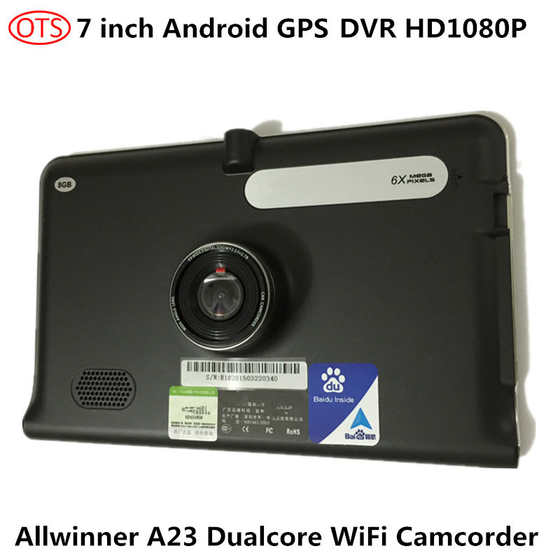 7 inch GPS Android Navigation DVR HD1080P Capacitive Touch Screen 170 Wide Angle DVR FM Transmitter Buildin 8GB Dual Core(China (Mainland))