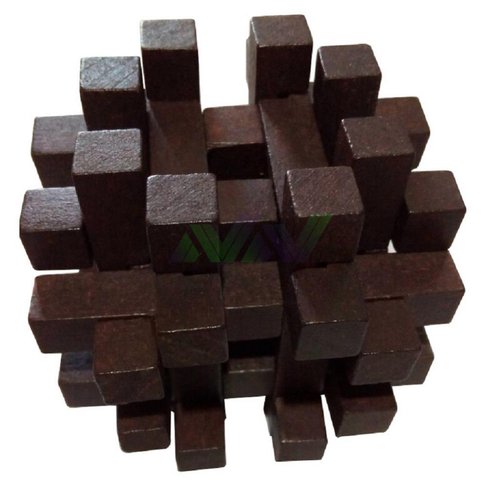 7.2*7.2*7.2cm Classical Tetris Wooden Adult IQ Brain Teaser Kong Ming Lu Ban Blocks Gift Toy  -  Shenzhen NewNet Expansion Trading Co., Ltd Store store