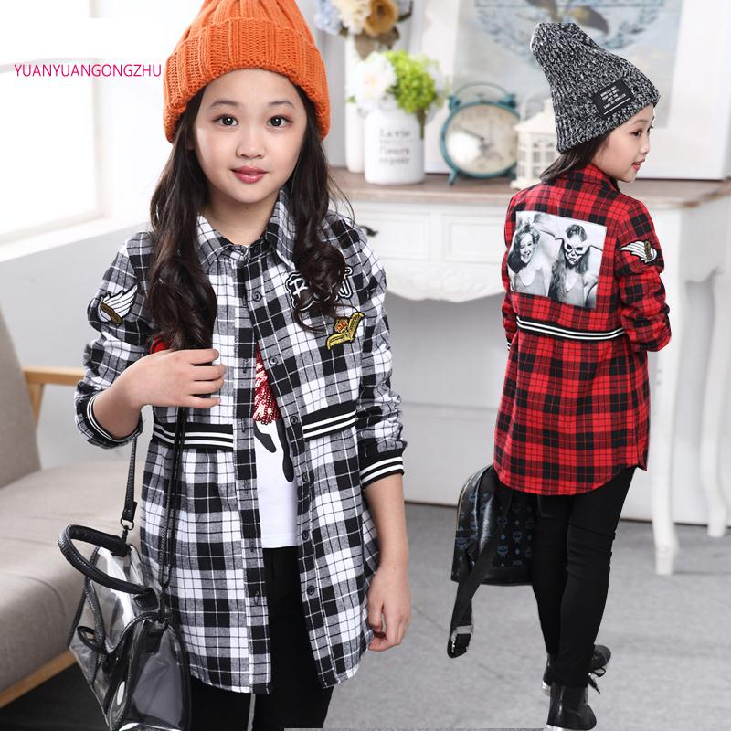 Brands Plaid Shirt Child 2015 School Clothes For Girls 6-14 Years Baby Blouse Girl Winter Shirts For Girls Blusas Camisa Xadrez