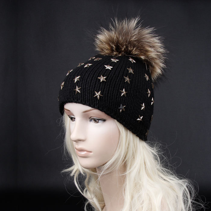High quality 2015 new 100% real fur adult pom pom hats for women winter or autumn knitted hat big fur skullies beanies(China (Mainland))