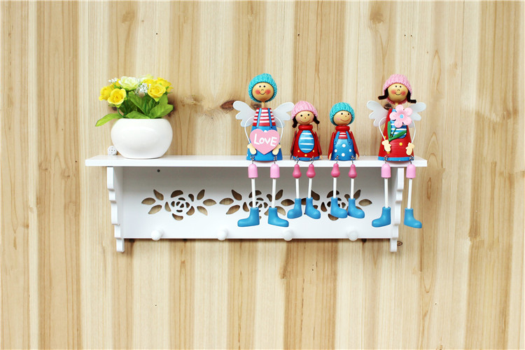 1pcs PVC board Wall Shelf with Hooks Coat hot Hanging Storage Rack Shelves Holders for Bedroom decoration room wall shelves(China (Mainland))