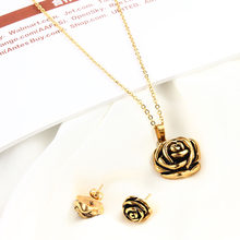OUFEI פרח חתונה נירוסטה תכשיטי סטים לנשים עלה דובאי תכשיטים אפריקאים סטי תכשיטים תורכי זהב ושחור(China)