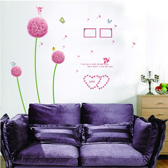 Factory wholesale new removable wall decoration wall decorative painter with dandelion AY6006B(China (Mainland))