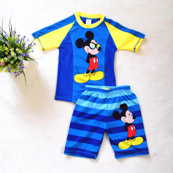 Child Bathing Suit toddler clothes Boy Mickey swimwear Two Pieces swimsuit for boys kids Surfing Clothing Rash Guards(China (Mainland))