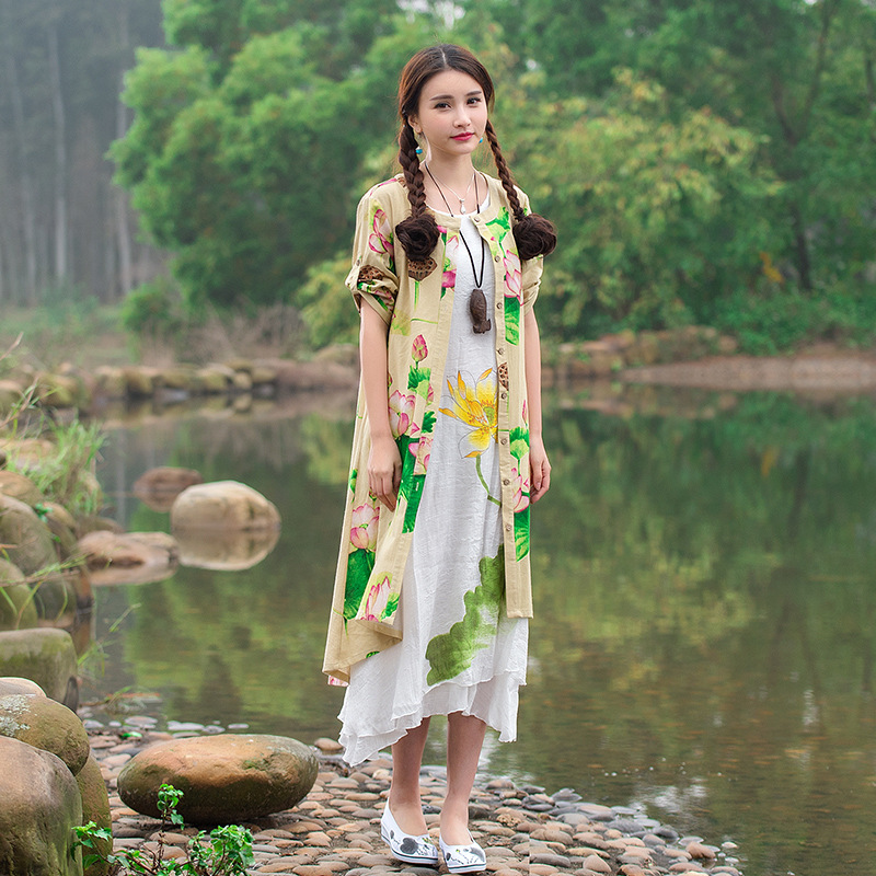 Yellow Lotus Flower Print Linen Cardigan Shirts Summer Spring New Fashion Women Chinese Long Clothes 2016 Blouse KY086(China (Mainland))