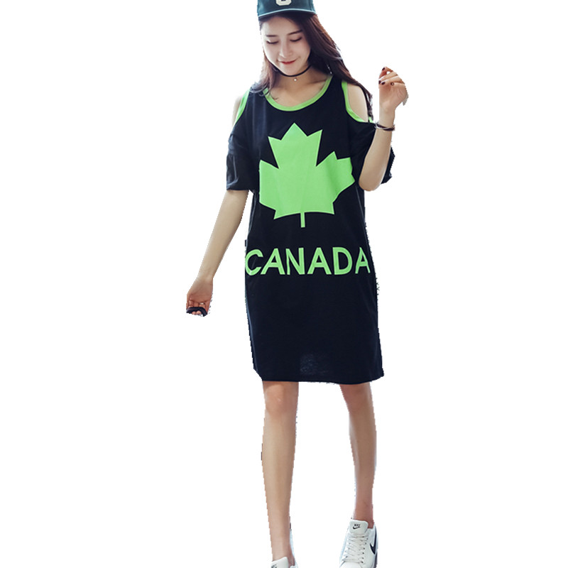 2016 big size short sleeve off shoulder summer dress women casual loose dress lady canada letter leaf print cutout black dress(China (Mainland))