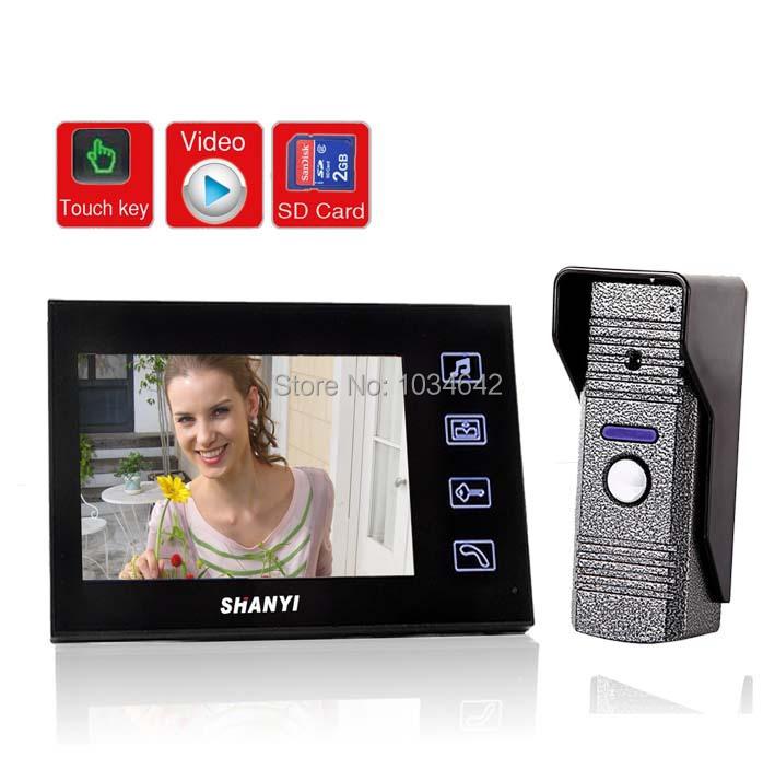 "7"" LCD Monitor Video Door Phone Doorbell Intercom Kit CCTV Security Camera Access Control Intercom (1 Camera To 1 Monitor)(China (Mainland))"