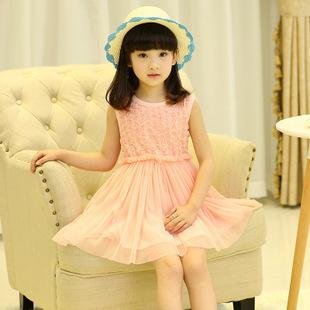 Elegant Rose Flower Sundress Kid Girls Dress Summer Sleeveless Cute Tu Tu Kids Dresses Princess Girl Costume Cheap Clothing(China (Mainland))