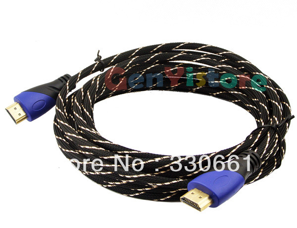 10Pcs/lot 15FT Premium HDMI to HDMI Cable V1.4 Gold Plated 3D 1080p for LCD DVD HDTV SkyHD