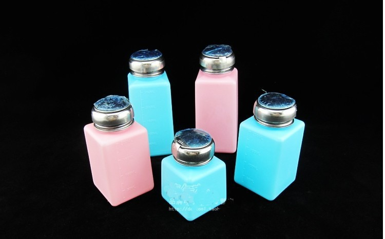5 pcs/lot! ESD mini alcohol bottle 100ml, 200ml, 250ml cleaning container blue and pink color(China (Mainland))