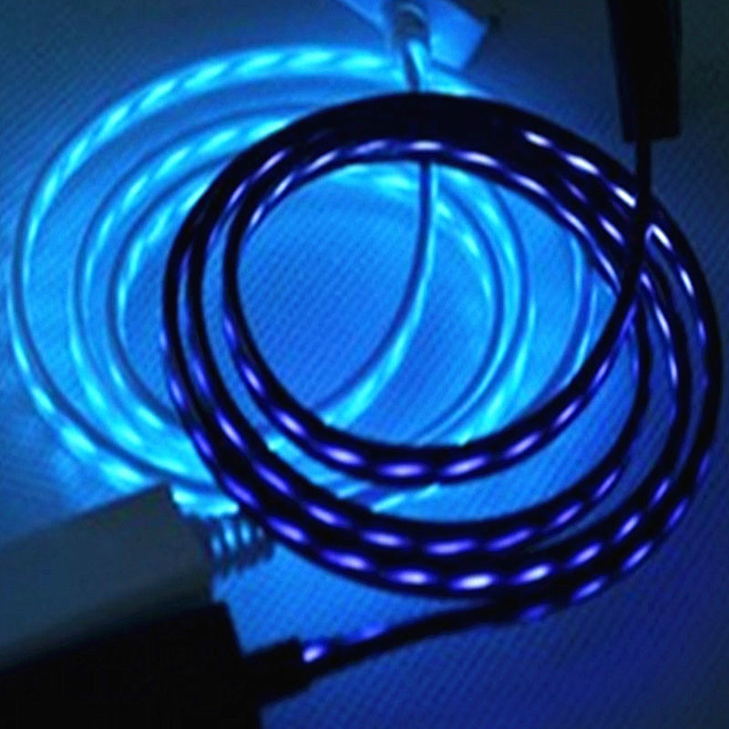 Flowing Light Micro USB Data Sync Charger Cable For Android IOS Samsung Lenovo Huawei ZTE OPP Flowing LED USB Cable Led Light(China (Mainland))