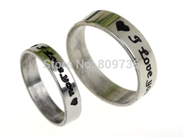 Pair Couple Rings Love's heart stainless steel wedding Bands Promise forever(China (Mainland))
