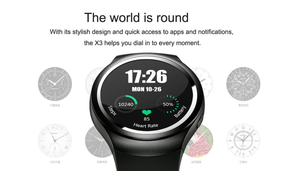 Smart Watch 3G X3 with Android 4.4 WCDMA WiFi GPS SIM USB SmartWatch for IOS Android Bluetooth 4.0 Mobile Phone Smartphone Watch