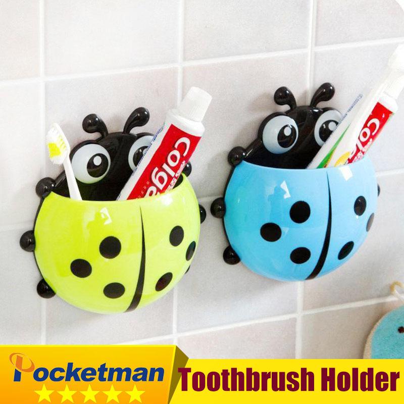 Toothbrush holder Ladybug Toothbrush Wall Suction Bathroom Sets Cartoon Sucker Toothbrush Holder / Suction Hooks ZK93(China (Mainland))