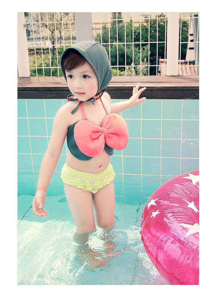 HAMA Child Girls 2015 new girls swimsuit swimsuit Bikini cute big bow trade hot gold bag hip skirt suittriangle bikini(China (Mainland))